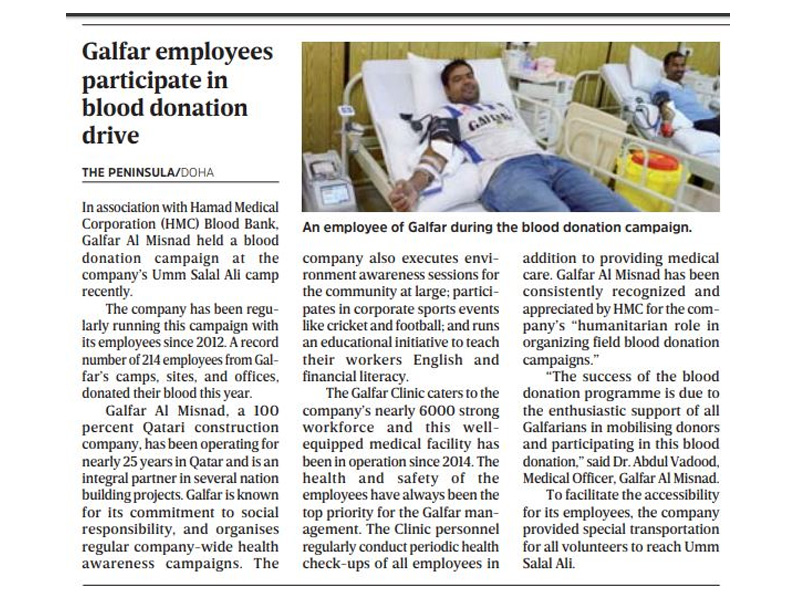 Galfar employees participate in blood donation drive